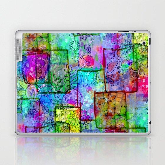 Rainbow Floral Doodle Laptop & iPad Skin