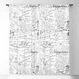Black And White Vintage Lettering Blackout Curtain