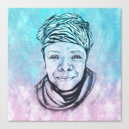 Maya Angelou Portrait on Blue and Pink Canvas Print