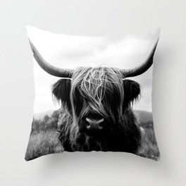 Scottish Highland Cattle Black and White Animal Throw Pillow