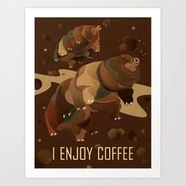 Tardigrade Enjoys Coffee Art Print