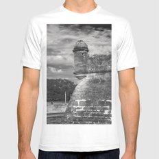 Castillo de San Marcos - black and white White Mens Fitted Tee MEDIUM