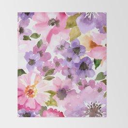 Pink Purple Watercolor Flowers Throw Blanket