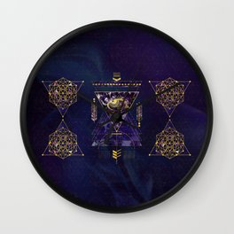 Sacred Geometry All Seeing eye in gold and amethyst Wall Clock
