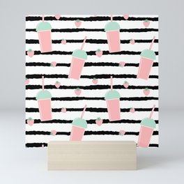cute lovely pattern background with strawberry smoothies on black brush Mini Art Print