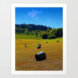 Dance of the hay bales Art Print