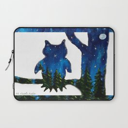 Owl Silhouette with Night Forest Laptop Sleeve