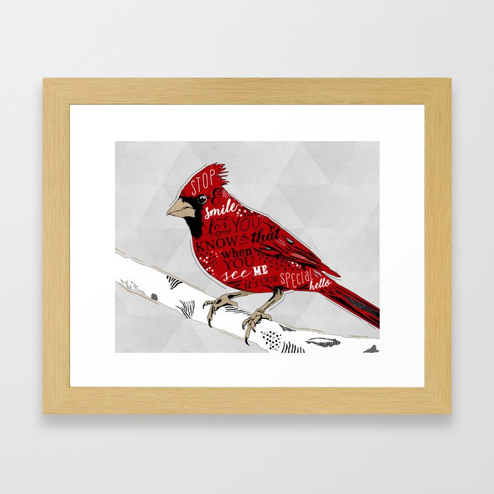 Cardinal Bird Lost Loved One Visiting Framed Art Print