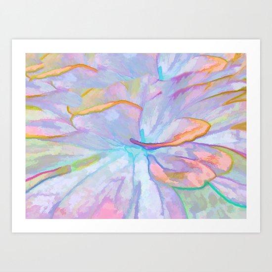 Soft Pastel Painted Petals Abstract Art Print