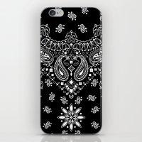 2pac iPhone & iPod Skins featuring black and white bandana by Marta Olga Klara