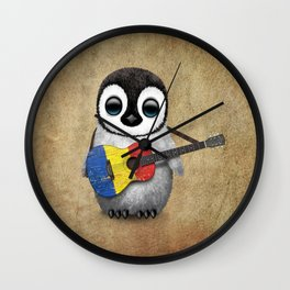 Baby Penguin Playing Romanian Flag Acoustic Guitar Wall Clock