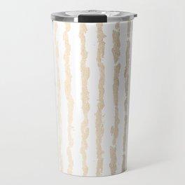 White Gold Sands Vertical Ink Stripes Travel Mug
