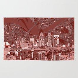 louisville city skyline red Rug