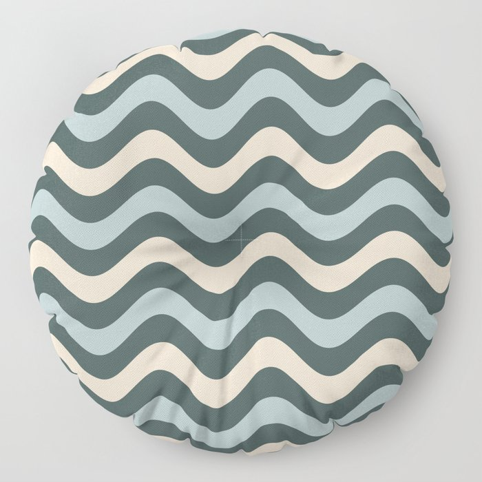 Blue Willow Green & Alpaca Wool Cream Wavy Horizontal Stripes on Night Watch Green Floor Pillow