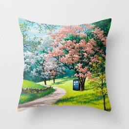 Tardis Art Street Autumn Throw Pillow
