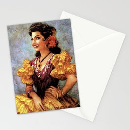 Mexican Golden Flamenco Calendar Girl by Jesus Helguera Stationery Cards