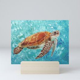 Turtle Swimming Mini Art Print