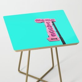 Cha-Cha's Tacos Retro Vintage Pink Sign Side Table
