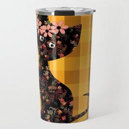 Yellow plaid, cat Travel Mug