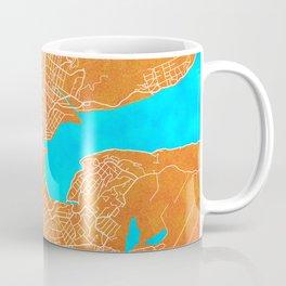 Dunedin, New Zealand, Gold, Blue, City, Map Coffee Mug