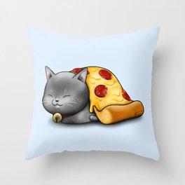 Purrpurroni Pizza Throw Pillow