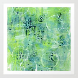Abstract in blue and green Art Print