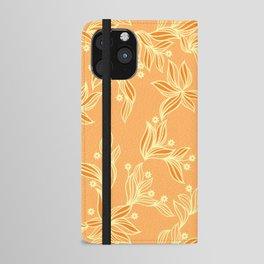 Orange Floral Pattern iPhone Wallet Case
