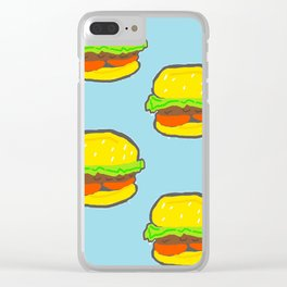 Blue water Burger Pattern Clear iPhone Case