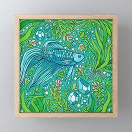 Betta Aquamarine | Magical Pet Fish Painting Framed Mini Art Print