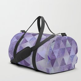 Glamorous Purple Faux Glitter And Foil Triangles Duffle Bag