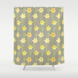 Yellow Watercolour Stemmed Daffodil Pattern Shower Curtain