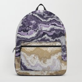 Purple and ochre marble texture Backpack