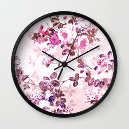 Elegant blush pink rose gold floral Wall Clock