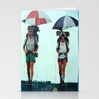 hiking Stationery Cards featuring Rain Hiking by Fallon Chase