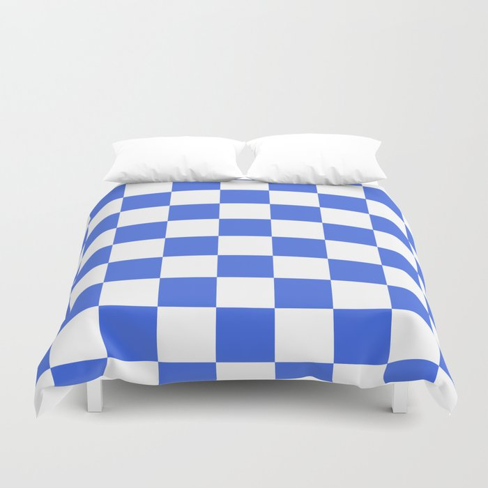 Checkered - White and Royal Blue Duvet Cover