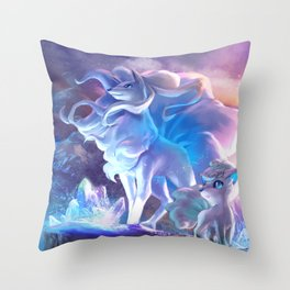 Alolan Ninetales  and Vulpix Throw Pillow