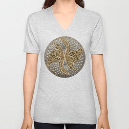 Raven Mandala Yin Yang  Unisex V-Neck