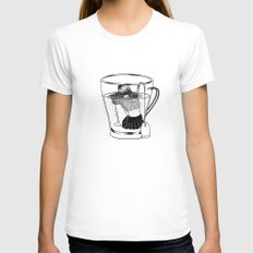 Tea Time Womens Fitted Tee SMALL White