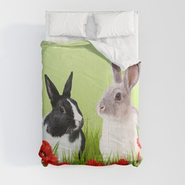 Two Rabbits - Poppies Flower Blossoms Field Comforters