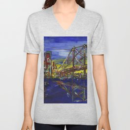 Philly Skyline with Ben Franklin Bridge Unisex V-Neck