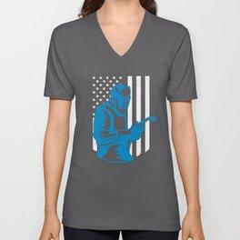 American Flag Welding Fabricator Gift for Welder Unisex V-Neck