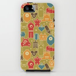 Robots on green. iPhone Case