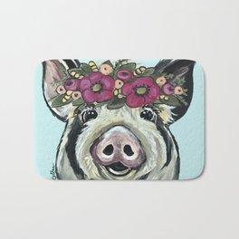 Cute Pig Art, Flower Crown Pig Art Bath Mat
