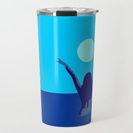 Blue sky and moon is calling me.. Travel Mug