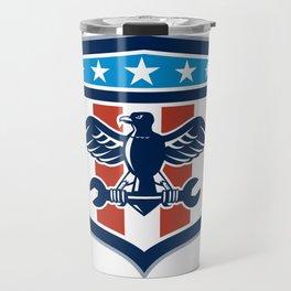 American Eagle Mechanic USA Flag Crest Travel Mug