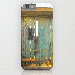 Blue and green door in the countryside of Salento iPhone Case