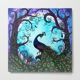 From Dusk til Dawn. Peacock in the spooky woods. Metal Print