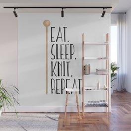 Eat Sleep Knit Repeat Wall Mural