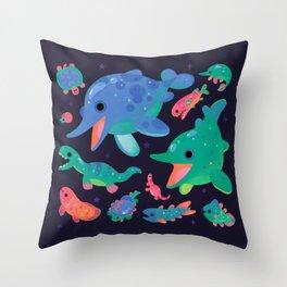 Triassic baby - dark Throw Pillow