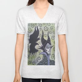 Maleficent Sugar Skull Unisex V-Neck